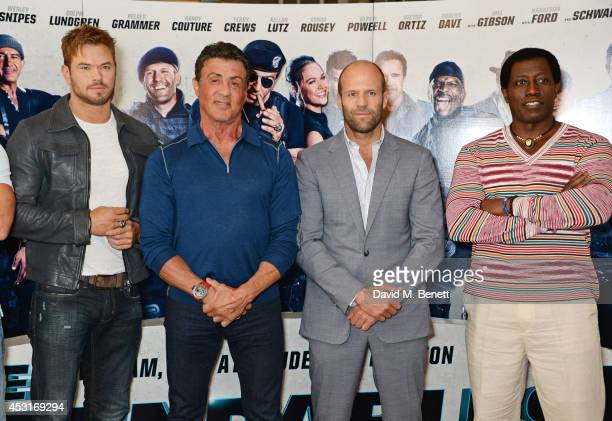 Kellan Lutz Sylvester Stallone Jason Statham and Wesley Snipes attend a photocall for 'The Expendables 3' at the Corinthia Hotel London on August 4...