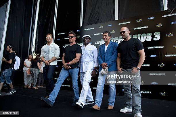 Kellan Lutz Sylvester Stallone Wesley Snipes Antonio Banderas and Jason Statham attend the Premiere of 'The Expendables 3' on August 5 2014 in Malaga...