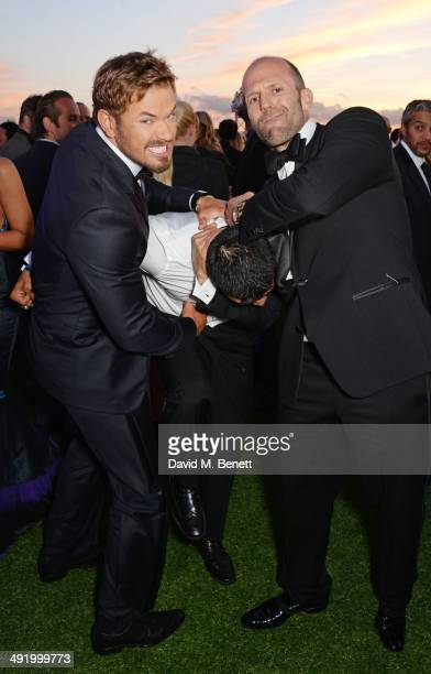 Kellan Lutz Victor Ortiz and Jason Statham attend 'The Expendables 3' private dinner and party at Gotha Night Club at Palm Beach on May 18 2014 in...