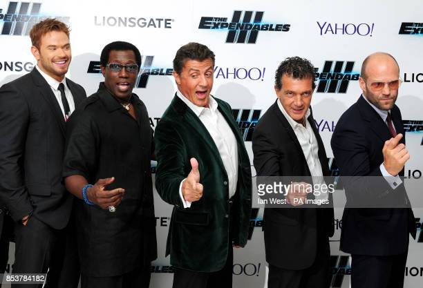 Kellan Lutz Wesley Snipes Sylvester Stallone Antonio Banderas and Jason Statham attending the premiere of new film the Expendables III at the Odeon...