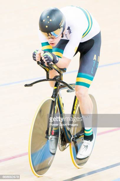Kelland O'Brien of the Australia team competes in the Men's Individual Pursuit Qualifying during 2017 UCI World Cycling on April 14 2017 in Hong Kong...
