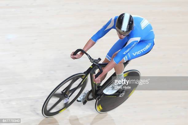 Kelland O'Brien races in the Mens 15km scratch race during the Track Cycling National Championships at Anna Meares Velodrome on March 4 2017 in...