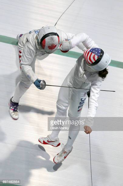 Kelleigh Ryan of Canada fences Nicole Ross of the USA during the Team Women's Foil event on June 18 2017 at the PanAmerican Fencing Championships at...