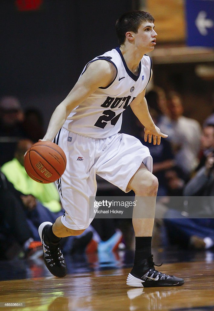 Kellen Dunham #24 of the Butler Bulldogs dribbles the ball in the backcourt during the game against the Georgetown Hoyas at Hinkle Fieldhouse on January 11, 2014 in Indianapolis, Indiana. Georgetown defeated Butler 70-67.