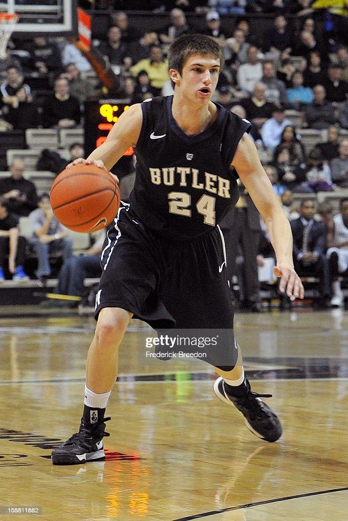 Kellen Dunham #24 of the Butler Bulldogs plays against the Vanderbilt Commodores at Memorial Gym on December 29, 2012 in Nashville, Tennessee.