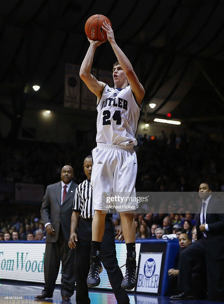 Kellen Dunham #24 of the Butler Bulldogs shoots a jump shot against the Georgetown Hoyas at Hinkle Fieldhouse on January 11, 2014 in Indianapolis, Indiana. Georgetown defeated Butler 70-67.