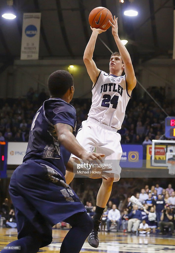 Kellen Dunham #24 of the Butler Bulldogs shoots the ball against the Georgetown Hoyas at Hinkle Fieldhouse on January 11, 2014 in Indianapolis, Indiana.