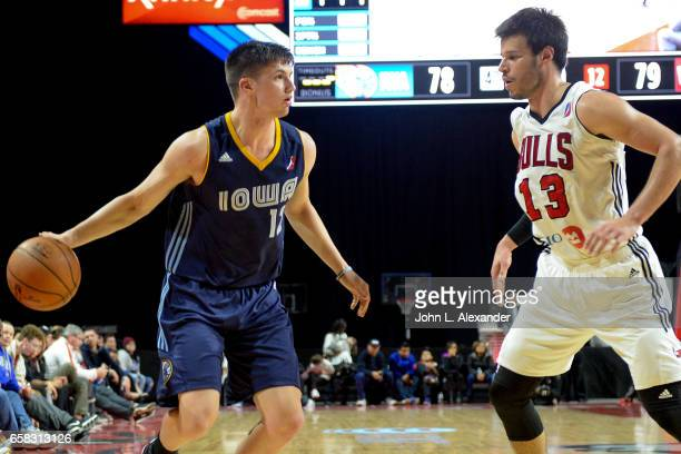 Kellen Dunham of the Iowa Energy dribbles the ball against the Windy City Bulls on March 23 2017 at the Sears Centre Arena in Hoffman Estates...