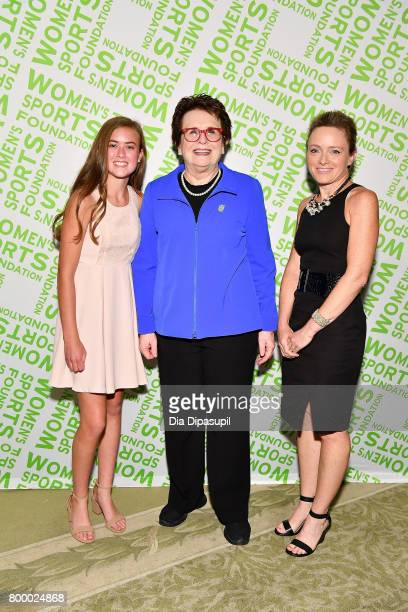 Kellen Richbourg Billie Jean King and Laramie Richbourg attend the Women's Sports Foundation 45th Anniversary of Title IX celebration at the NewYork...