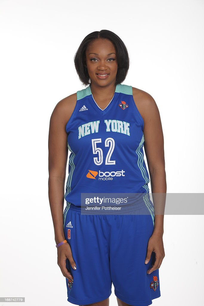 Kelley Cain #52 of the New York Liberty poses for a photo during WNBA Media Day on May 13, 2013 at the Madison Square Garden Training Facility in Tarrytown, New York.