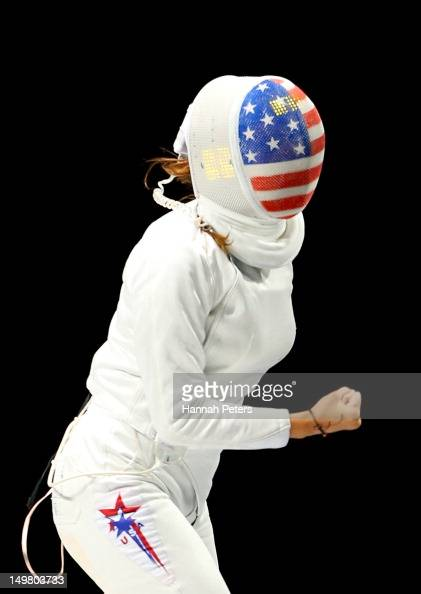 Kelley Hurley of the United States reacts while competing against Anna Sivkova of Russia against during the Women's Epee Team Fencing Finals on Day 8...