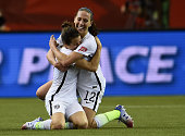 Kelley O'Hara and Lauren Holiday of the United States celebrate after the FIFA Women's World Cup 2015 SemiFinal Match at Olympic Stadium on June 30...