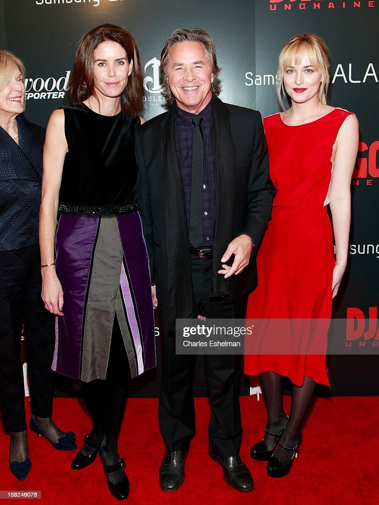 Kelley Phleger, actors Don Johnson and Dakota Johnson attend The Weinstein Company With The Hollywood Reporter, Samsung Galaxy And The Cinema Society Host A Screening Of 'Django Unchained' at Ziegfeld Theater on December 11, 2012 in New York City.