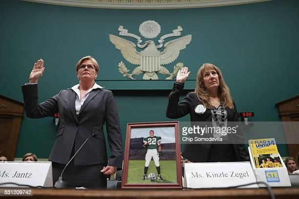Kelli Jantz whose son died from second impact syndrome in 2004 and Karen Zegel whose son Patrick Risha took his own life after suffering from chronic...