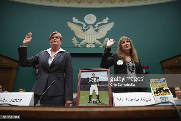 Kelli Jantz whose son died from second impact syndrome in 2004 and Karen Zegel whose son took his own life after suffering from chronic traumatic...