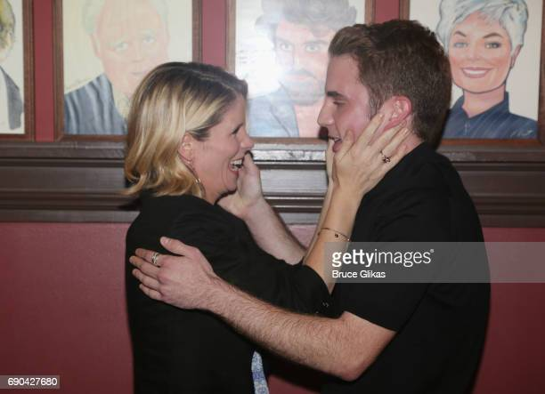 Kelli O'Hara and Ben Platt pose as Ben Platt gets honored for his performance in his broadway show 'Dear Evan Hansen' wth a caricature on the wall of...