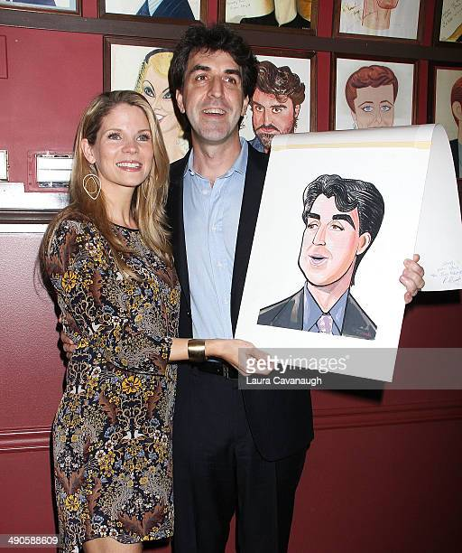 Kelli O'Hara and Jason Robert Brown attend the unveiling of Jason Robert Brown's Sardi's caricature at Sardi's on May 14 2014 in New York City