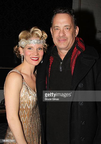 Kelli O'Hara and Tom Hanks pose backstage at the hit musical 'Nice Work If You Can Get It' on Broadway at The Imperial Theater on February 3 2013 in...