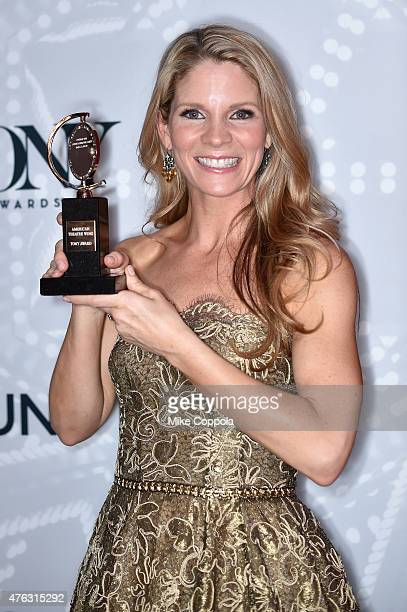 Kelli O'Hara winner of the award for Best Performance by an Actress in a Leading Role in a Musical for 'The King and I' poses in the Paramount Hotel...