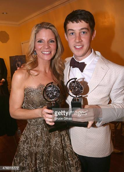 """Kelli O'Hara winner of the award for Best Performance by an Actress in a Leading Role in a Musical for """"The King and I"""" and Alex Sharp winner of the..."""