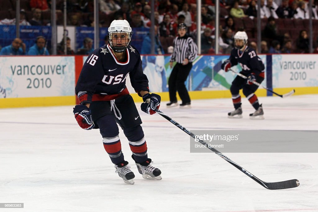 <a gi-track='captionPersonalityLinkClicked' href=/galleries/search?phrase=Kelli+Stack&family=editorial&specificpeople=6214354 ng-click='$event.stopPropagation()'>Kelli Stack</a> of the United States during the ice hockey women's semifinal game game between USA and Sweden on day 11 of the Vancouver 2010 Winter Olympics at Canada Hockey Place on February 22, 2010 in Vancouver, Canada.