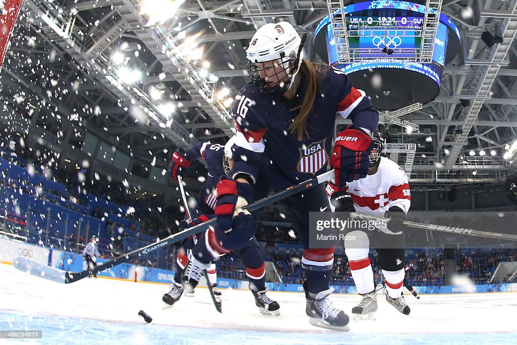 <a gi-track='captionPersonalityLinkClicked' href=/galleries/search?phrase=Kelli+Stack&family=editorial&specificpeople=6214354 ng-click='$event.stopPropagation()'>Kelli Stack</a> #16 of United States skates for the puck during the Women's Ice Hockey Preliminary Round Group A game on day three of the Sochi 2014 Winter Olympics at Shayba Arena on February 10, 2014 in Sochi, Russia.