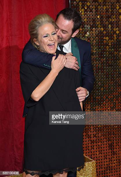 Kellie Bright and Danny Dyer arrive for the British Soap Awards 2016 at the Hackney Town Hall Assembly Rooms on May 28 2016 in London England