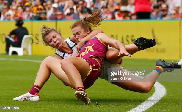 Kellie Gibson of the crows clashes with Jamie Stanton of the lions during the AFL Women's Grand Final between the Brisbane Lions and the Adelaide...