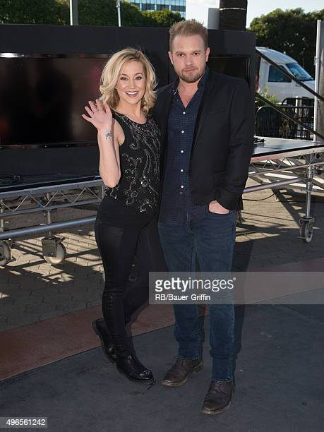 Kellie Pickler and Kyle Jacobs are seen at 'Extra' on November 10 2015 in Los Angeles California