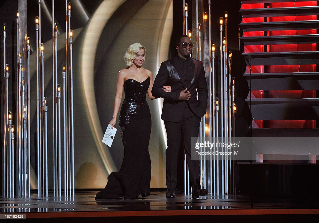 <a gi-track='captionPersonalityLinkClicked' href=/galleries/search?phrase=Kellie+Pickler&family=editorial&specificpeople=600021 ng-click='$event.stopPropagation()'>Kellie Pickler</a> and Sean 'Diddy' Combs on stage during the 47th annual CMA awards at the Bridgestone Arena on November 6, 2013 in Nashville, Tennessee.