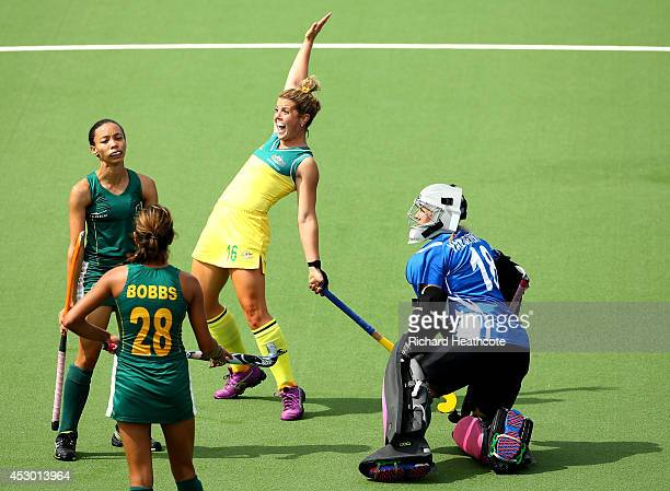 Kellie White of Australia celebrates scoring the second goal in the Women's Hockey Semi Final between South Africa and Australia at Glasgow National...