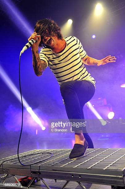 Kellin Quinn of Sleeping With Sirens performs on stage at O2 Shepherd's Bush Empire on May 16 2013 in London England