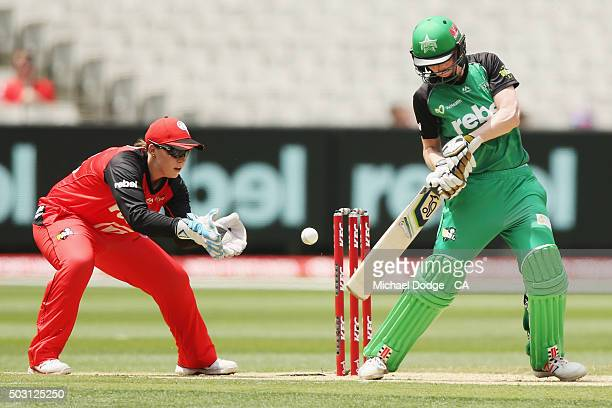 Kelly Applebee of the Stars edges a ball to Erica Kershaw of the Renegades to be dismissed during the Women's Big Bash League match between the...