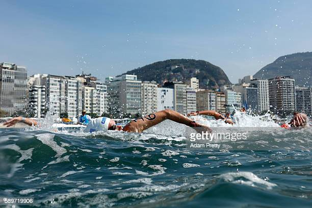 Kelly Araouzou of Greece competes in the Women's 10km Marathon Swimming on day 10 of the Rio 2016 Olympic Games at Fort Copacabana on August 15 2016...