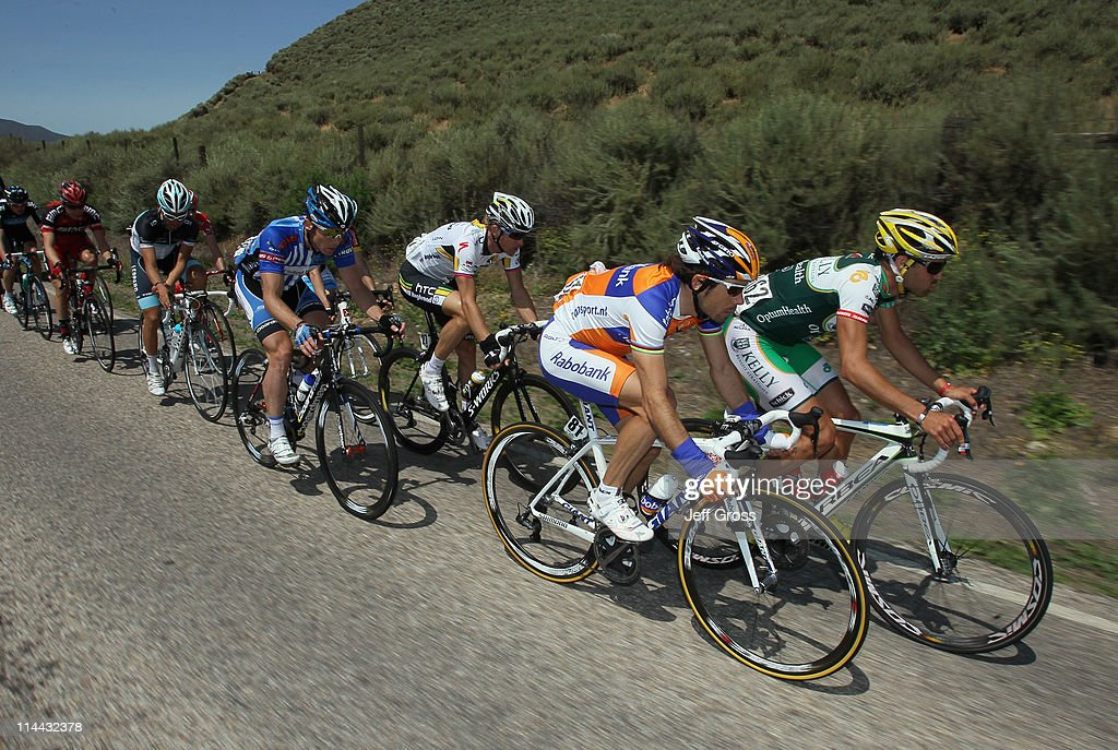 Kelly Benefit Strategies-Optumhealth team rider Jesse Anthony of the USA (R) and Rabobank team rider Oscar Freire of Spain lead a breakaway group during stage five of the 2011 AMGEN Tour of California from Seaside to Paso Robles on May 19, 2011 in Monterey County, California.