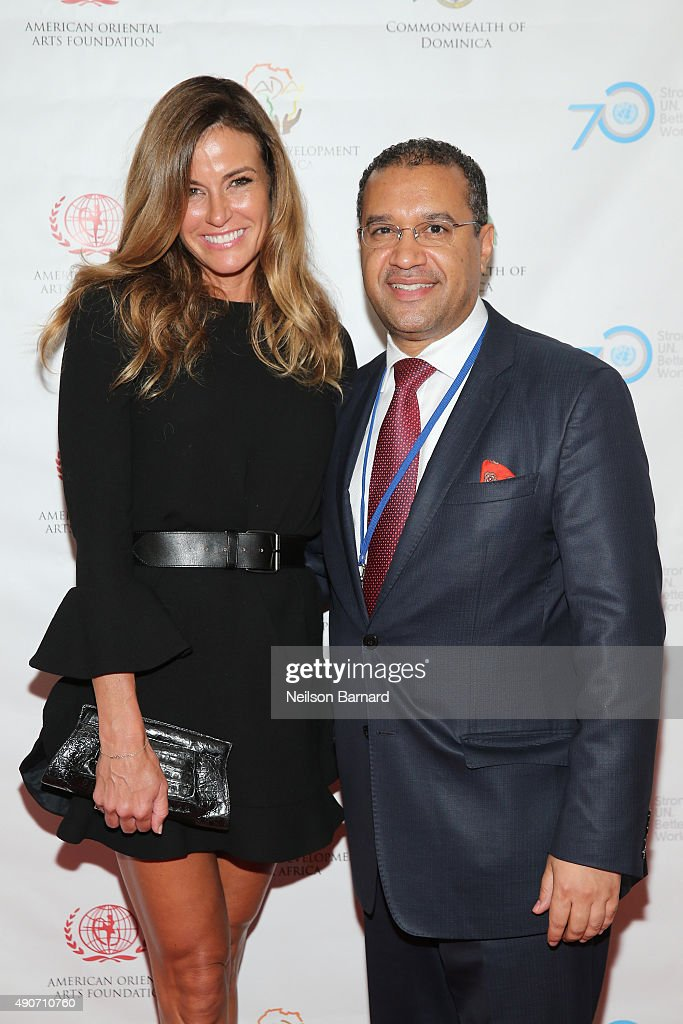 Kelly Bensimon and Permanent Representative of the Commonwealth of Dominica, H.E. Vince Henderson attend a reception gala for the 70th Anniversary of the United Nations and the Post-2015 Development Agenda at United Nations on September 29, 2015 in New York City.
