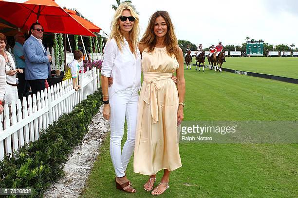 Kelly Bensimon and swimwear designer Melissa Odabash are sighted at the Coco Polo Lounge Easter Brunch on March 27 2016 in Wellington Florida