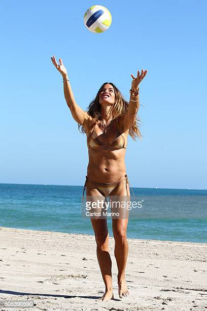 Kelly Bensimon is sighted on Miami Beach as she flaunts her bikini body while playing volleyball on January 17 2016 in Miami Florida