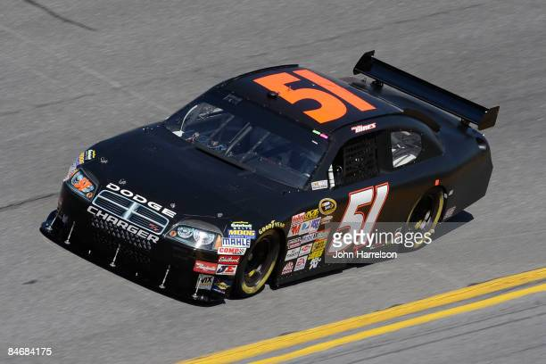 Kelly Bires driver of the Dodge during practice for the NASCAR Sprint Cup Series Daytona 500 at Daytona International Speedway on February 7 2009 in...