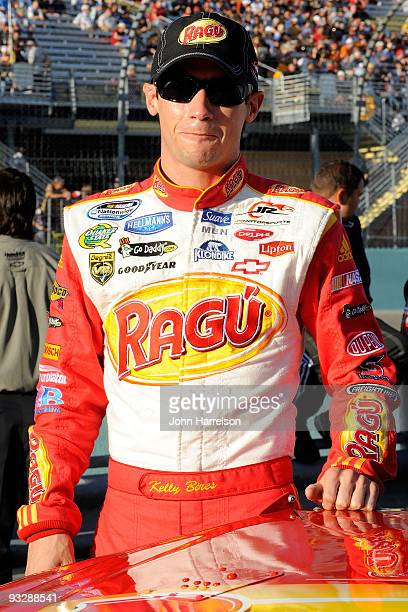 Kelly Bires driver of the Ragu Chevrolet stands on the grid prior to the NASCAR Nationwide Series Ford 300 at HomesteadMiami Speedway on November 21...