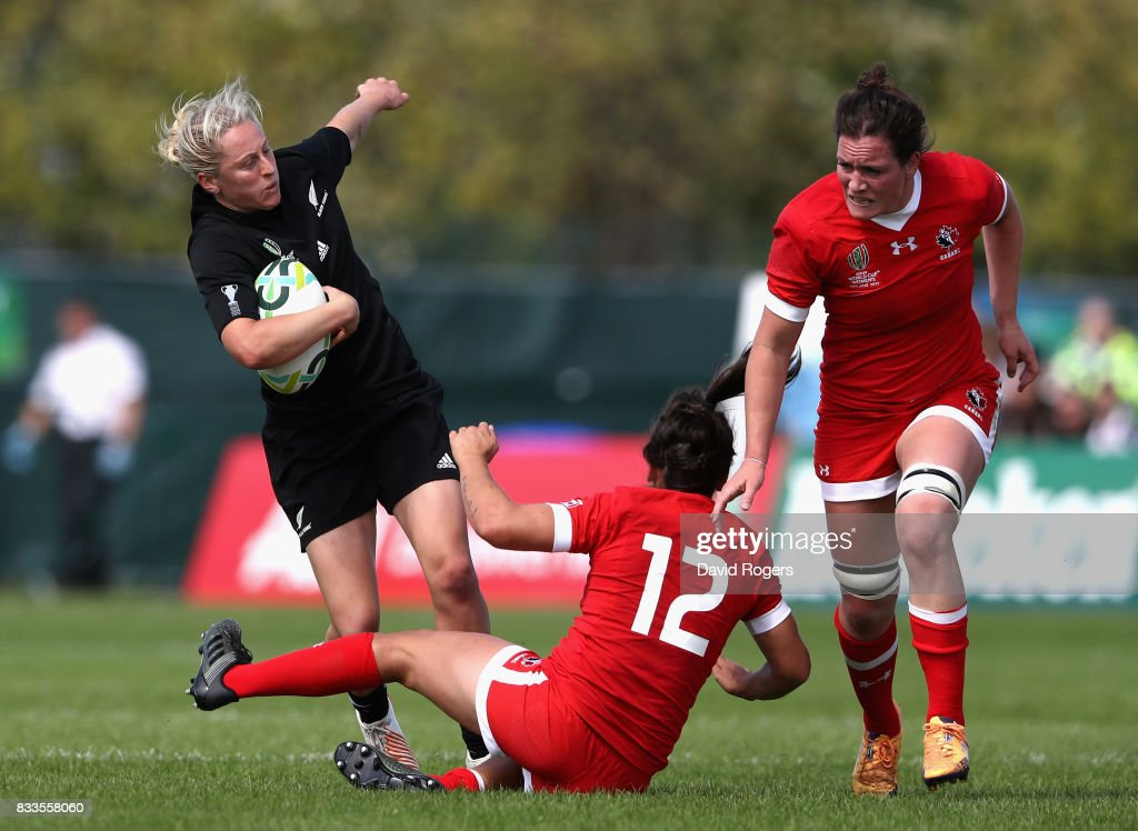Kelly Brazier of New Zealand Black Ferns takes on Amanda Thornborough of Canada during the Women's Rugby World Cup Pool A, match between Canada and New Zealand Black Ferns at Billings Park UCB on August 17, 2017 in Dublin, Ireland.