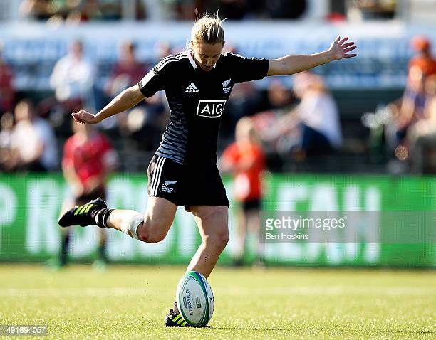 Kelly Brazier of New Zealand in action during the IRB Womens Sevens match between New Zealand and Spain on May 16 2014 in Amsterdam Netherlands