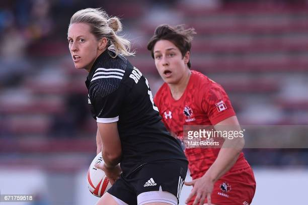 Kelly Brazier of New Zealand passes the ball during the HSBC World Rugby Women's Sevens Series 2016/17 Kitakyushu cup final between Canada and New...