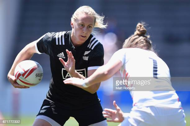 Kelly Brazier of New Zealand takes on the defence during the HSBC World Rugby Women's Sevens Series 2016/17 Kitakyushu quarter final between New...