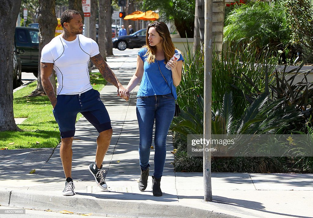 Kelly Brook and David McIntosh are seen on April 02, 2014 in Los Angeles, California.
