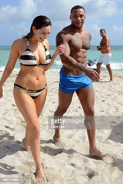 Kelly Brook and David McIntosh are seen on February 3 2014 in Miami Beach Florida