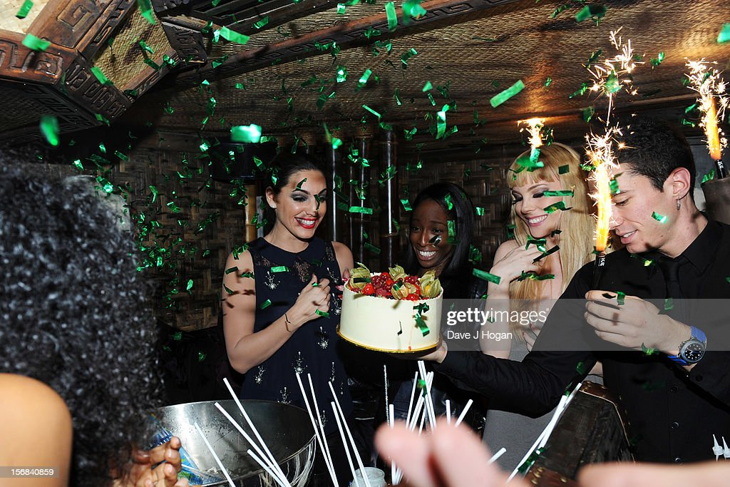 Kelly Brook attends her 33rd birthday party after her final show with Crazy Horse at Mahiki on November 22, 2012 in London, England.