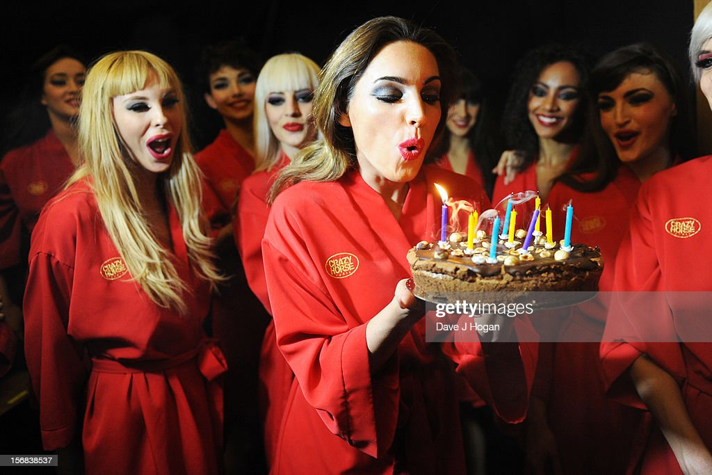 <a gi-track='captionPersonalityLinkClicked' href=/galleries/search?phrase=Kelly+Brook&family=editorial&specificpeople=206582 ng-click='$event.stopPropagation()'>Kelly Brook</a> attends her surprise 33rd birthday backstage at her final show with Crazy Horse at The Forever Crazy Spiegel Tent on November 22, 2012 in London, England.