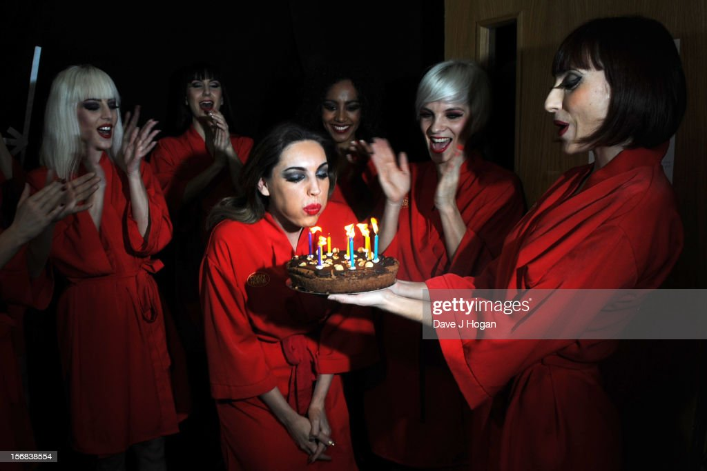 Kelly Brook attends her surprise 33rd birthday backstage at her final show with Crazy Horse at The Forever Crazy Spiegel Tent on November 22, 2012 in London, England.