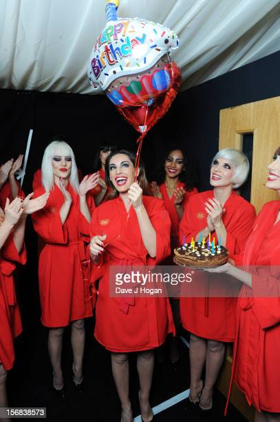 Kelly Brook attends her surprise 33rd birthday backstage at her final show with Crazy Horse at The Forever Crazy Spiegel Tent on November 22 2012 in...